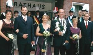 2003 Thron Melanie Stegemann, Andreas Roters, Annette Roters, Holger Stegemann, Monika Barenbrügge, Berthold Barenbrügge