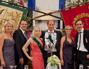 2014 Königspaar Andreas Haverkock und Silke Heller, Ehrengefolge Frank Heller, Hilla Ahlers, Matthias Ahlers, Christa Haverkock 2